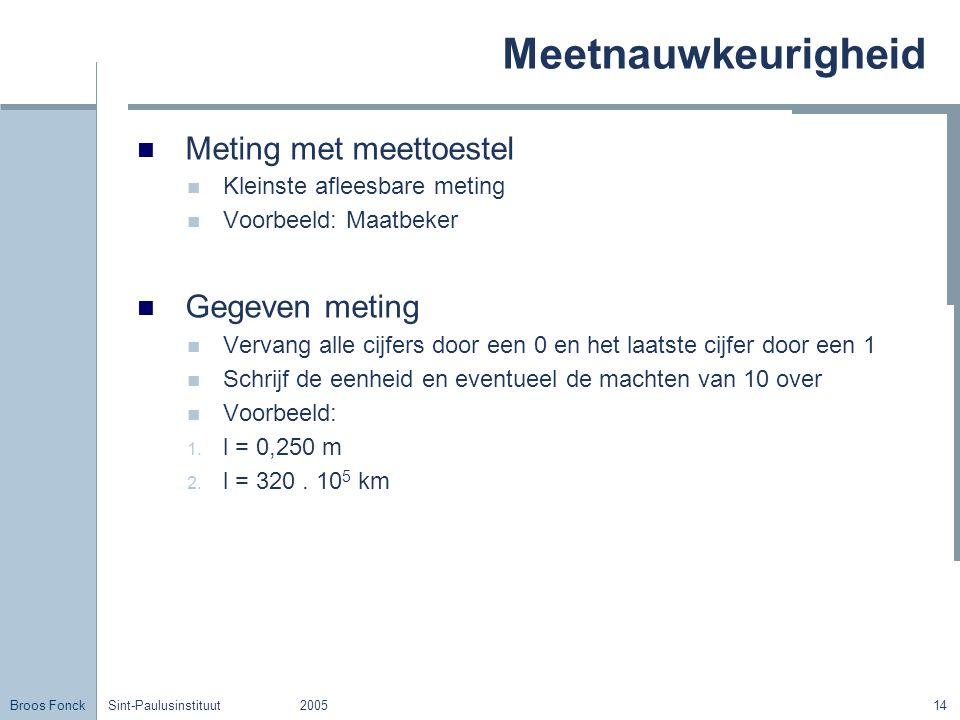 Meetnauwkeurigheid Meting met meettoestel Gegeven meting