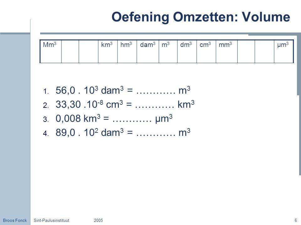 Oefening Omzetten: Volume