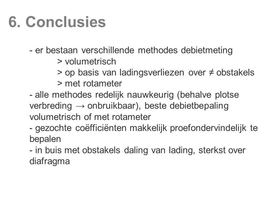6. Conclusies er bestaan verschillende methodes debietmeting
