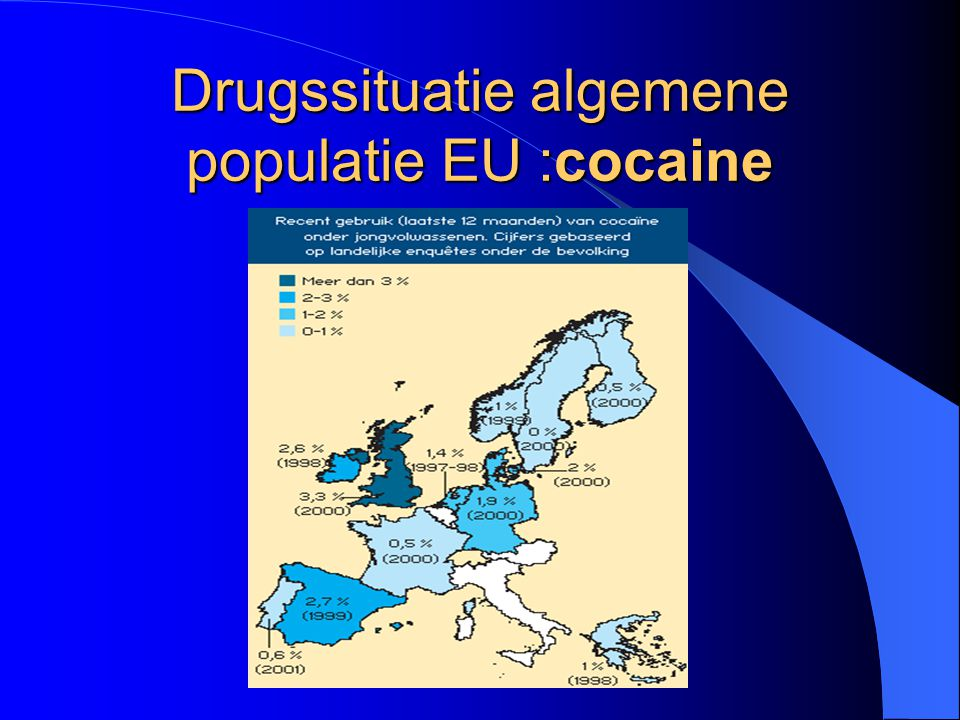 Drugssituatie algemene populatie EU :cocaine