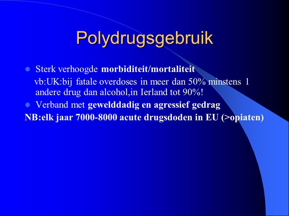 Polydrugsgebruik Sterk verhoogde morbiditeit/mortaliteit