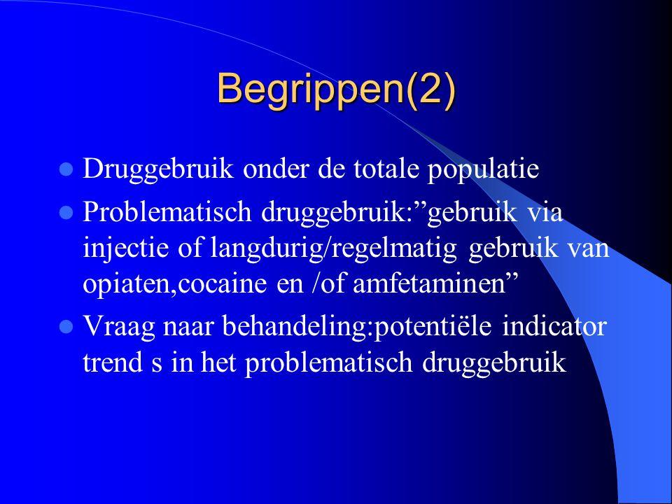 Begrippen(2) Druggebruik onder de totale populatie