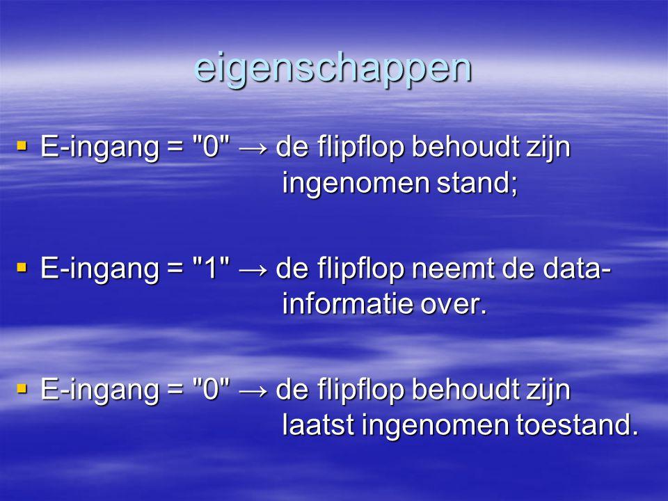 eigenschappen E-ingang = 0 → de flipflop behoudt zijn ingenomen stand; E-ingang = 1 → de flipflop neemt de data- informatie over.