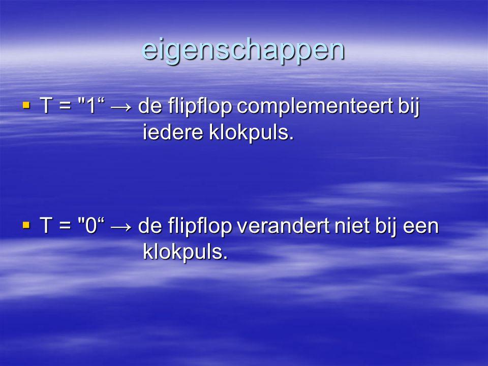 eigenschappen T = 1 → de flipflop complementeert bij iedere klokpuls.
