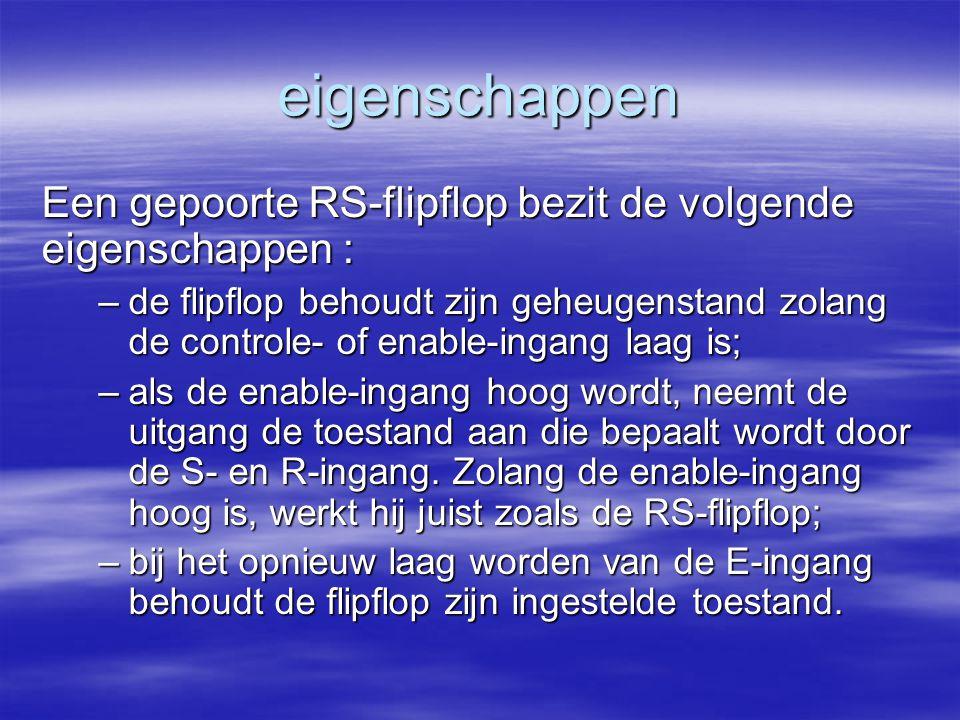 eigenschappen Een gepoorte RS-flipflop bezit de volgende eigenschappen :