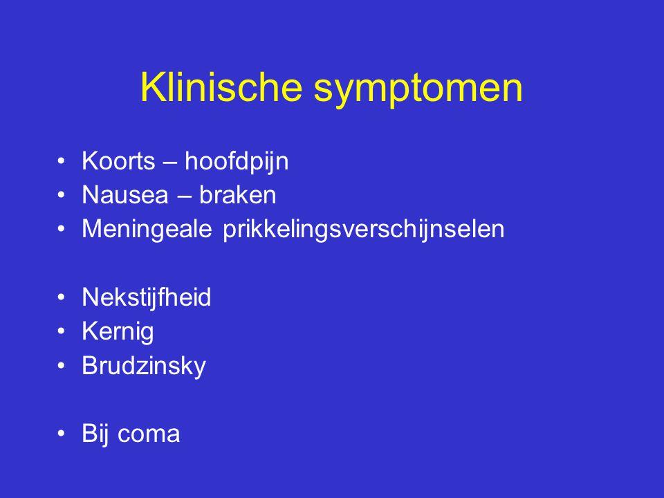 Klinische symptomen Koorts – hoofdpijn Nausea – braken