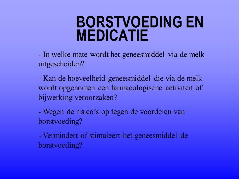 BORSTVOEDING EN MEDICATIE