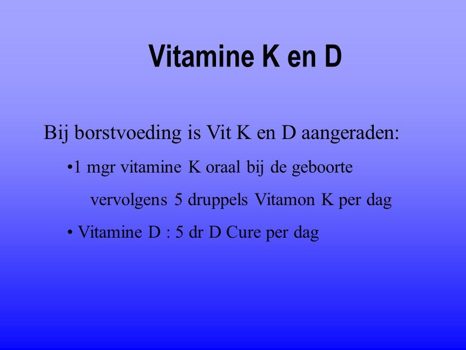 Vitamine K en D Bij borstvoeding is Vit K en D aangeraden: