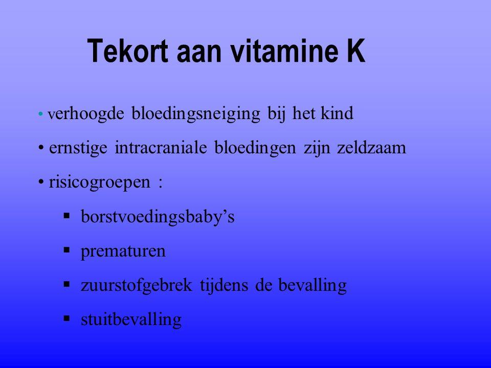Tekort aan vitamine K ernstige intracraniale bloedingen zijn zeldzaam