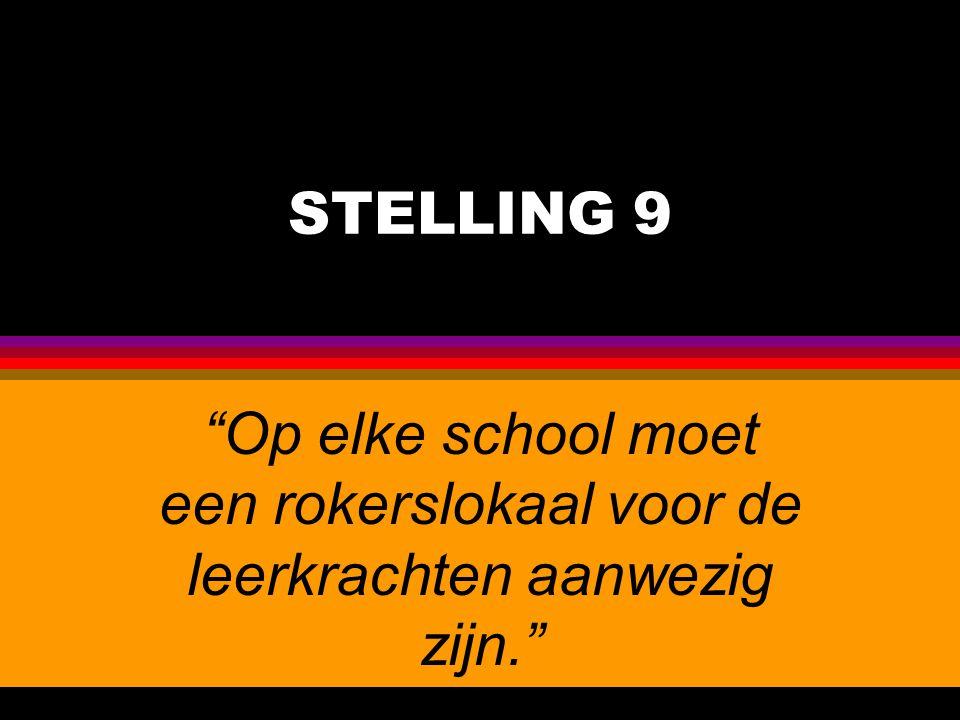STELLING 9 Op elke school moet een rokerslokaal voor de leerkrachten aanwezig zijn.