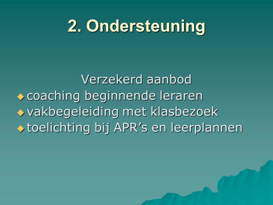 2. Ondersteuning Verzekerd aanbod coaching beginnende leraren