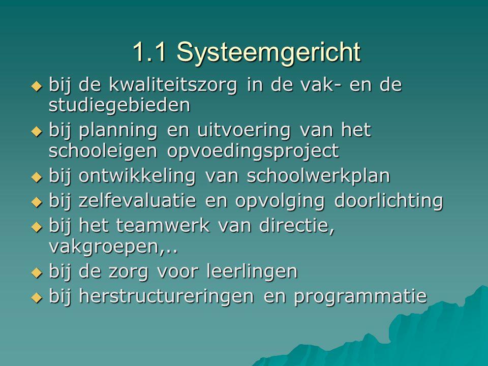 1.1 Systeemgericht bij de kwaliteitszorg in de vak- en de studiegebieden. bij planning en uitvoering van het schooleigen opvoedingsproject.