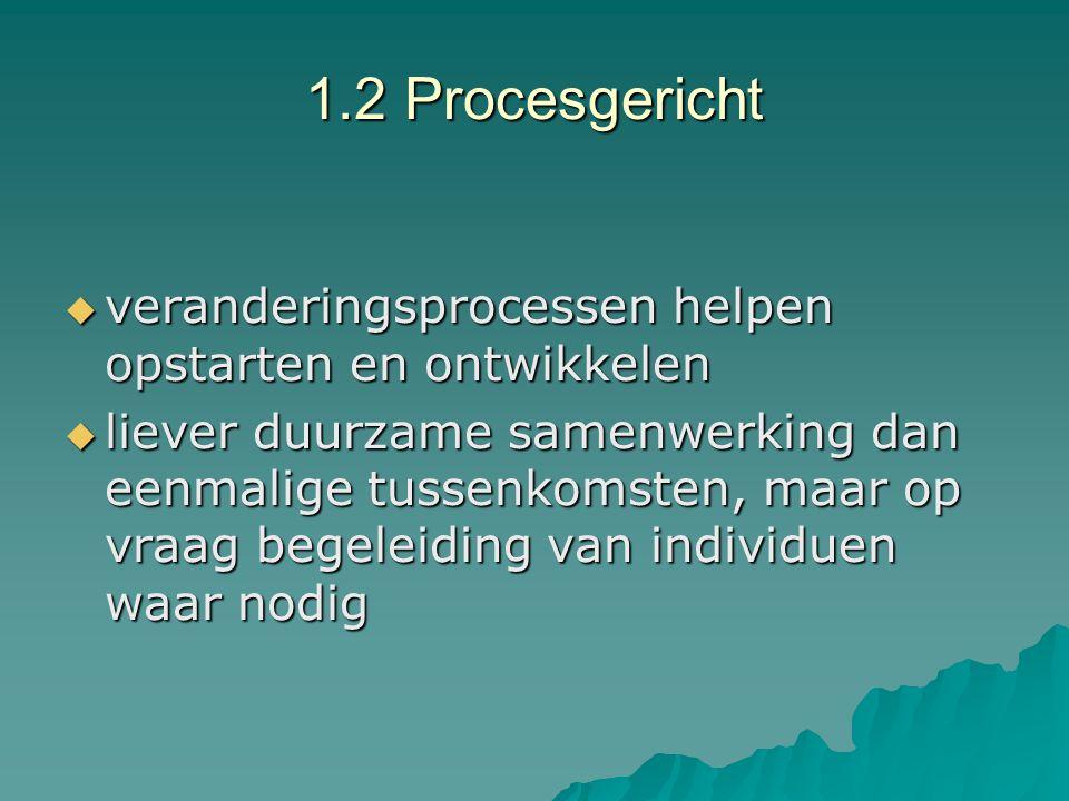 1.2 Procesgericht veranderingsprocessen helpen opstarten en ontwikkelen.