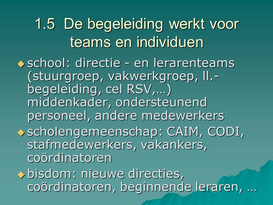 1.5 De begeleiding werkt voor teams en individuen
