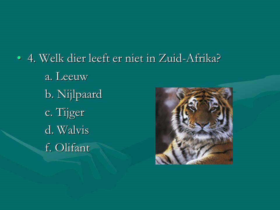4. Welk dier leeft er niet in Zuid-Afrika