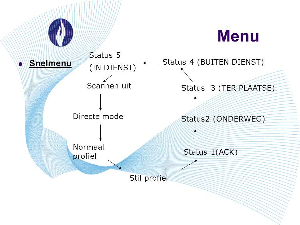 Menu Snelmenu Status 5 (IN DIENST) Status 4 (BUITEN DIENST)