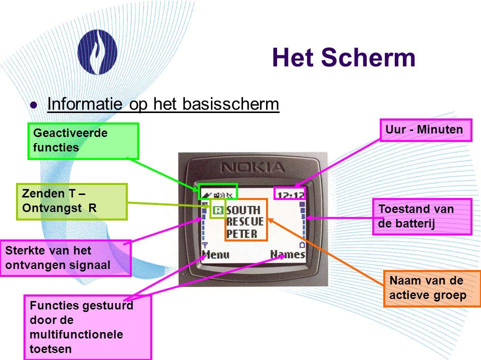 Het Scherm Informatie op het basisscherm Uur - Minuten
