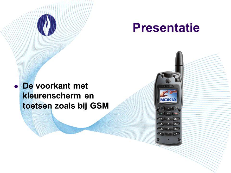 Presentatie De voorkant met kleurenscherm en toetsen zoals bij GSM