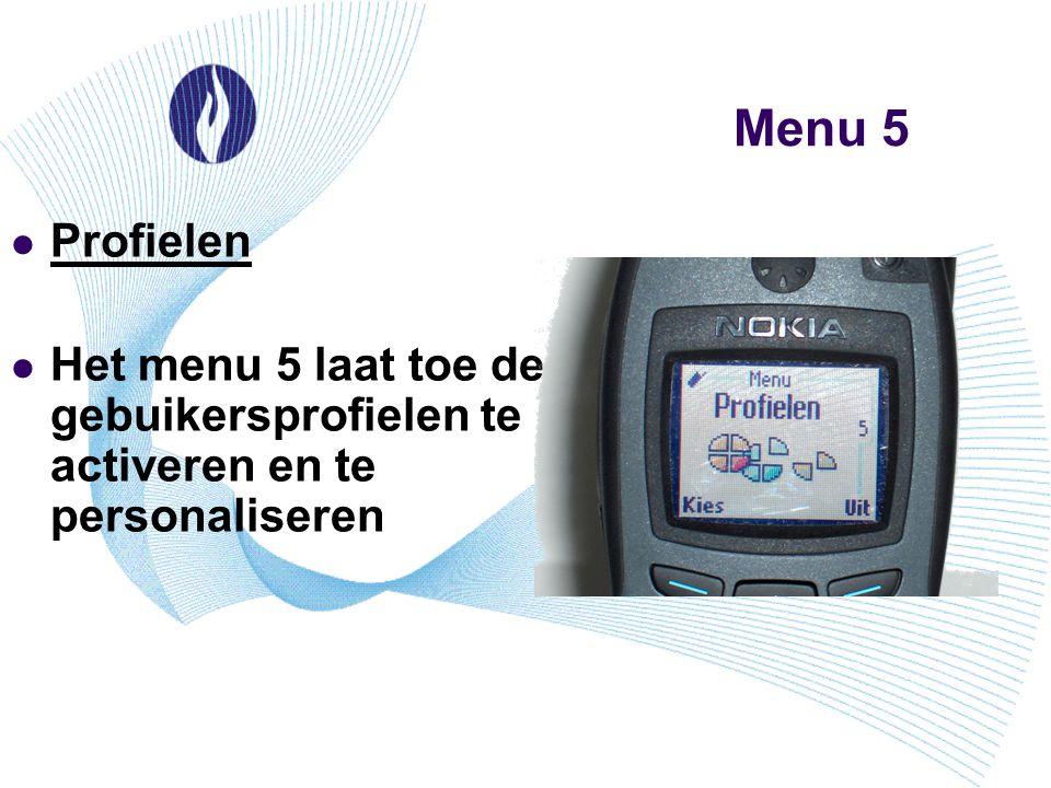 Menu 5 Profielen Het menu 5 laat toe de gebuikersprofielen te activeren en te personaliseren