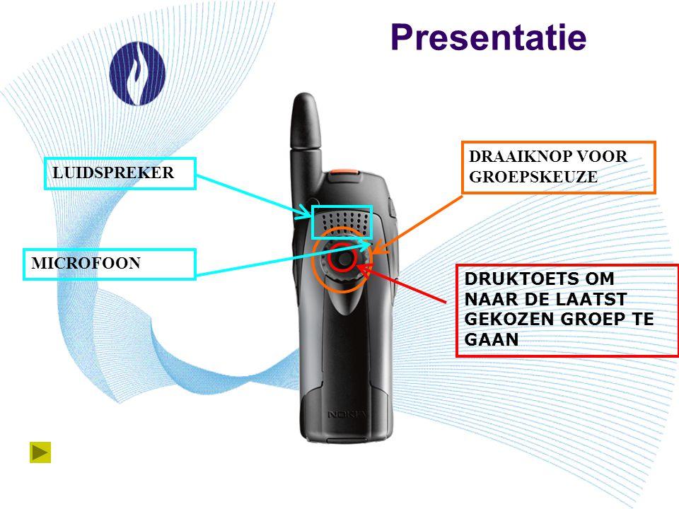 Presentatie DRAAIKNOP VOOR GROEPSKEUZE LUIDSPREKER MICROFOON