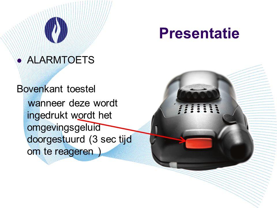 Presentatie ALARMTOETS Bovenkant toestel