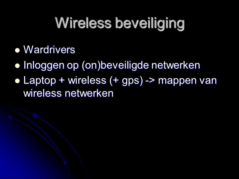 Wireless beveiliging Wardrivers Inloggen op (on)beveiligde netwerken