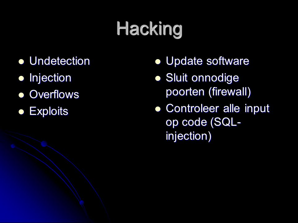 Hacking Undetection Injection Overflows Exploits Update software