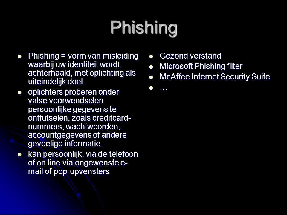 Phishing Phishing = vorm van misleiding waarbij uw identiteit wordt achterhaald, met oplichting als uiteindelijk doel.