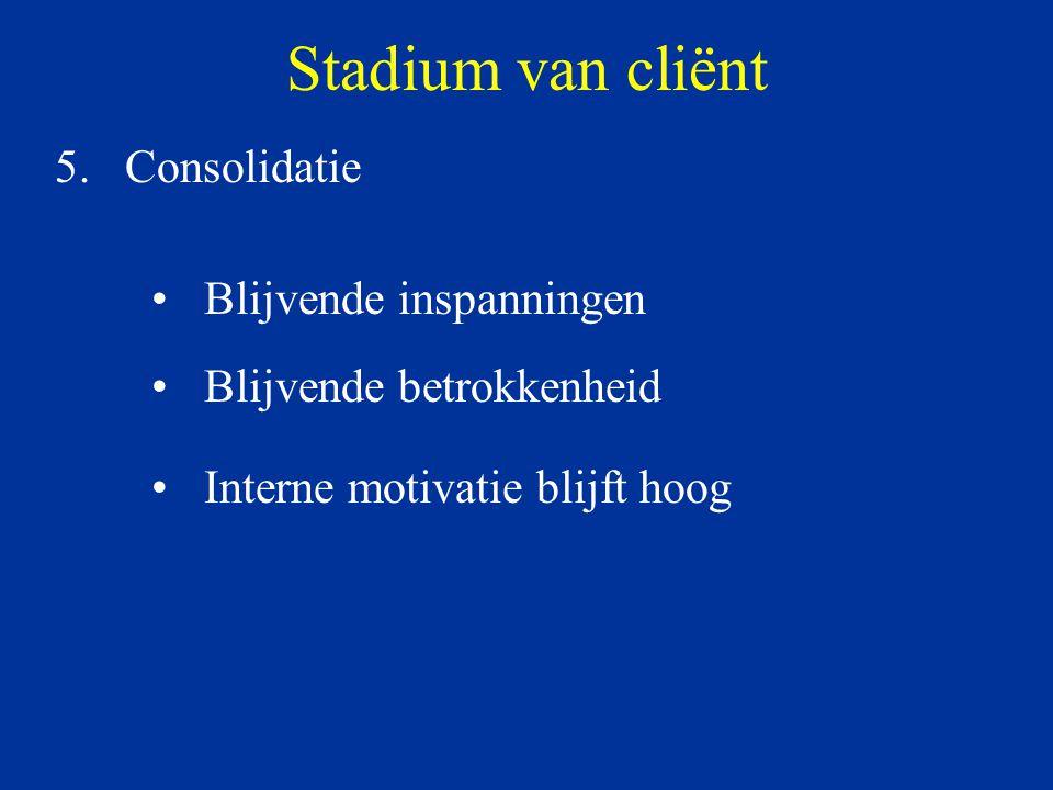 Stadium van cliënt Consolidatie Blijvende inspanningen