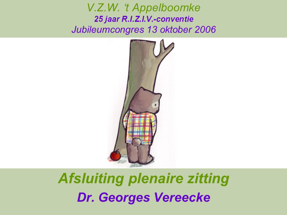 Afsluiting plenaire zitting Dr. Georges Vereecke