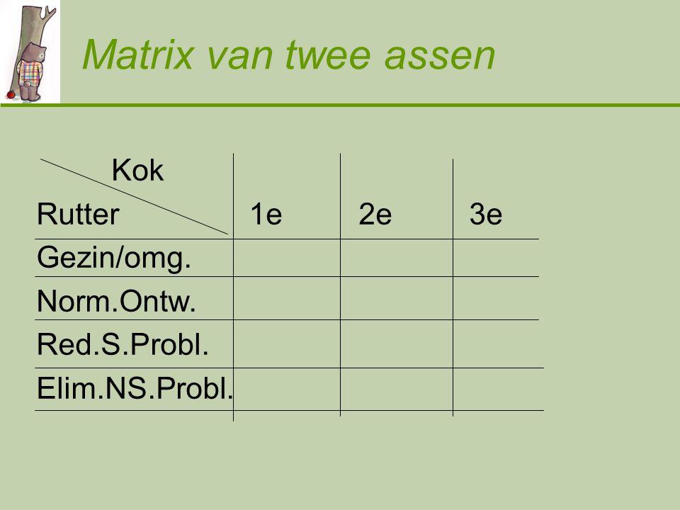 Matrix van twee assen Kok Rutter 1e 2e 3e Gezin/omg. Norm.Ontw.