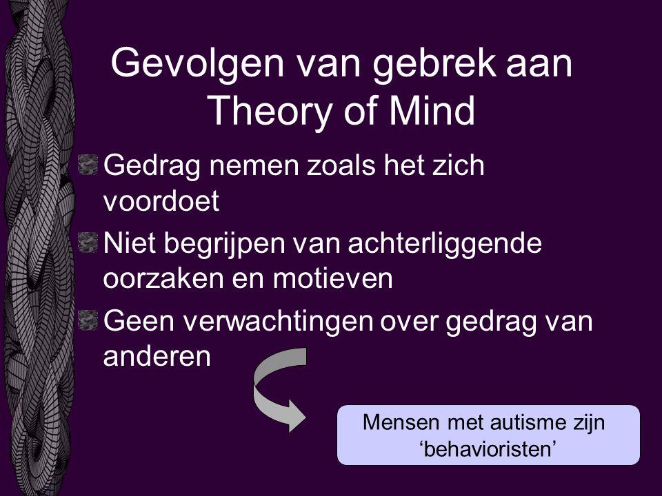 Gevolgen van gebrek aan Theory of Mind