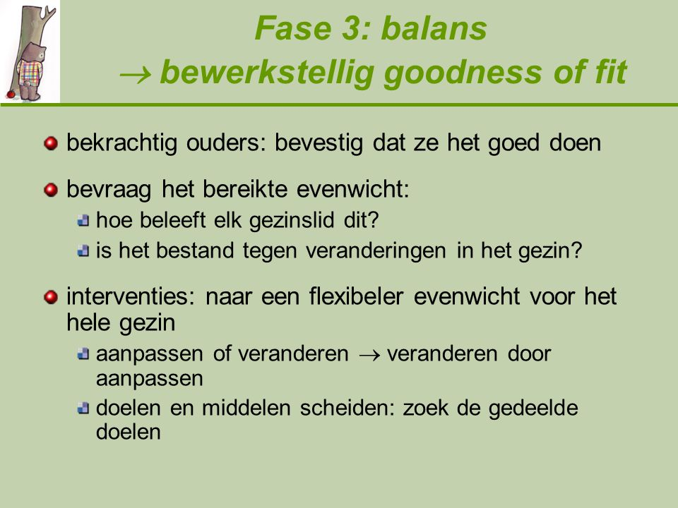 Fase 3: balans  bewerkstellig goodness of fit