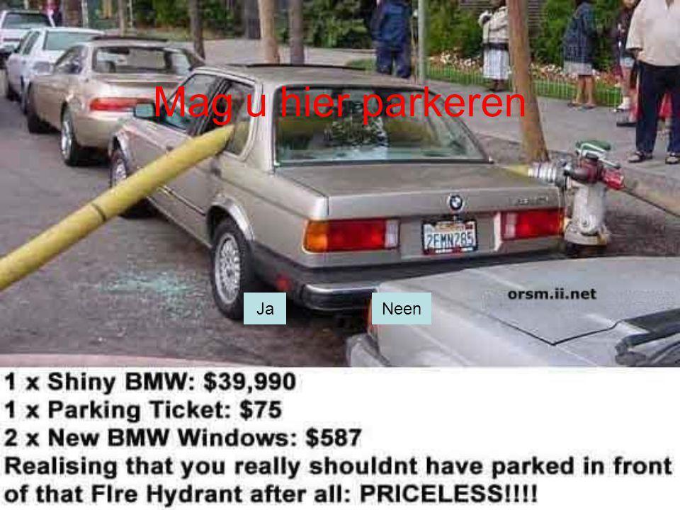 Mag u hier parkeren Ja Nee Ja Neen