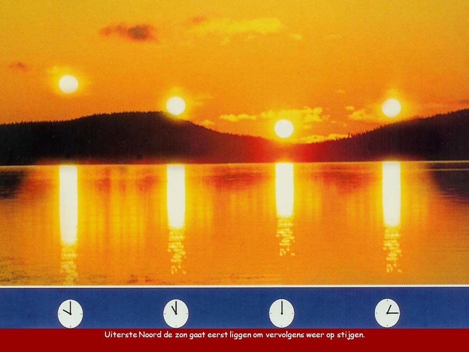 Uiterste Noord de zon gaat eerst liggen om vervolgens weer op stijgen.