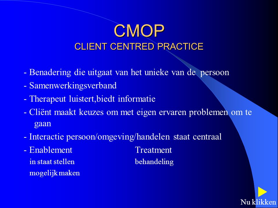 CMOP CLIENT CENTRED PRACTICE