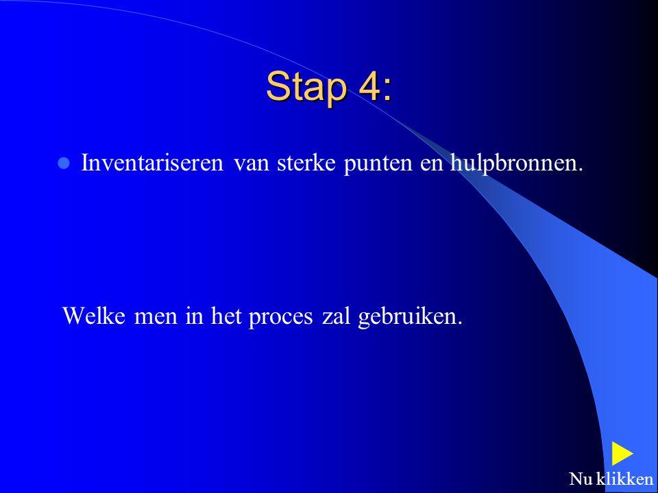 Stap 4:  Inventariseren van sterke punten en hulpbronnen.