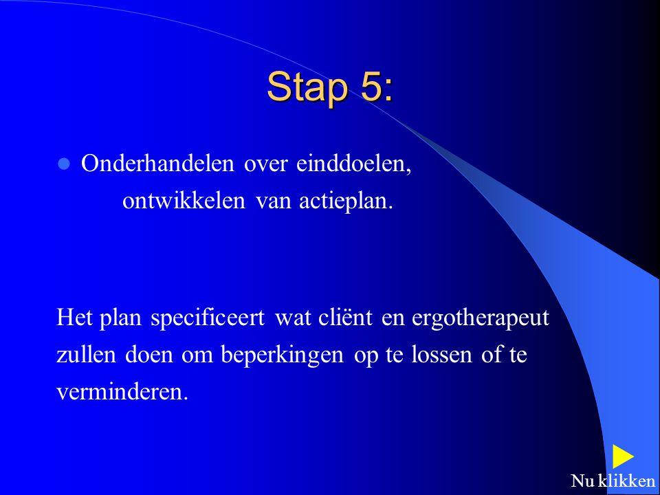 Stap 5:  Onderhandelen over einddoelen, ontwikkelen van actieplan.