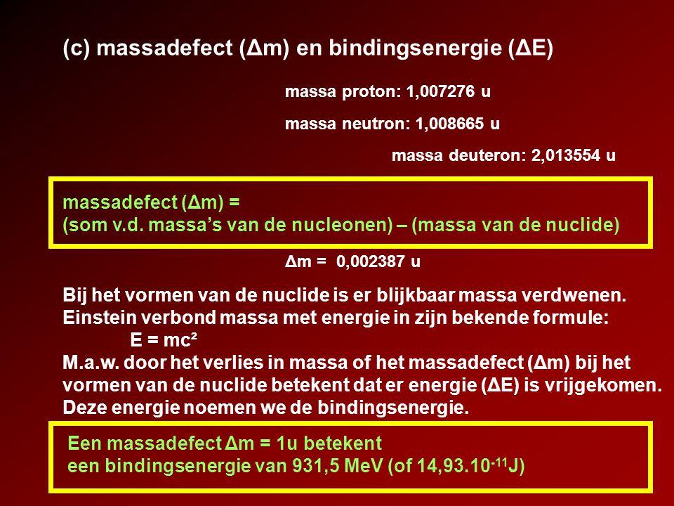 (c) massadefect (Δm) en bindingsenergie (ΔE)