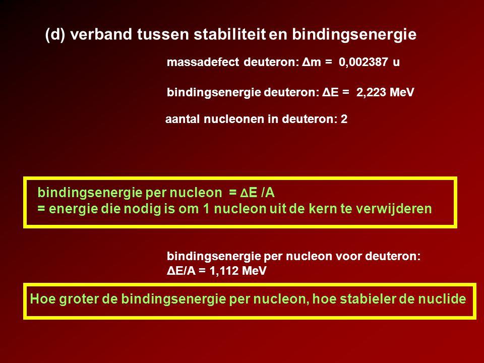 (d) verband tussen stabiliteit en bindingsenergie
