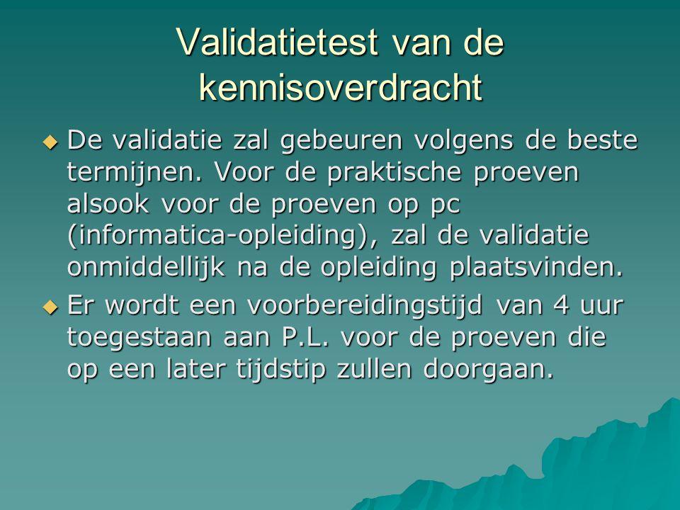 Validatietest van de kennisoverdracht