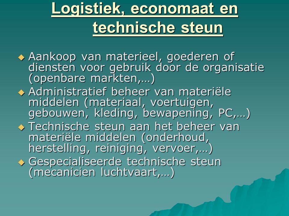 Logistiek, economaat en technische steun