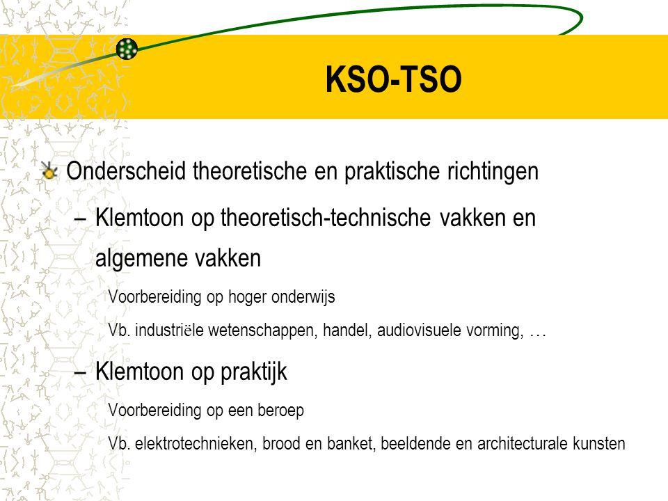 KSO-TSO Onderscheid theoretische en praktische richtingen