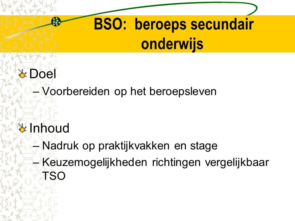 BSO: beroeps secundair onderwijs