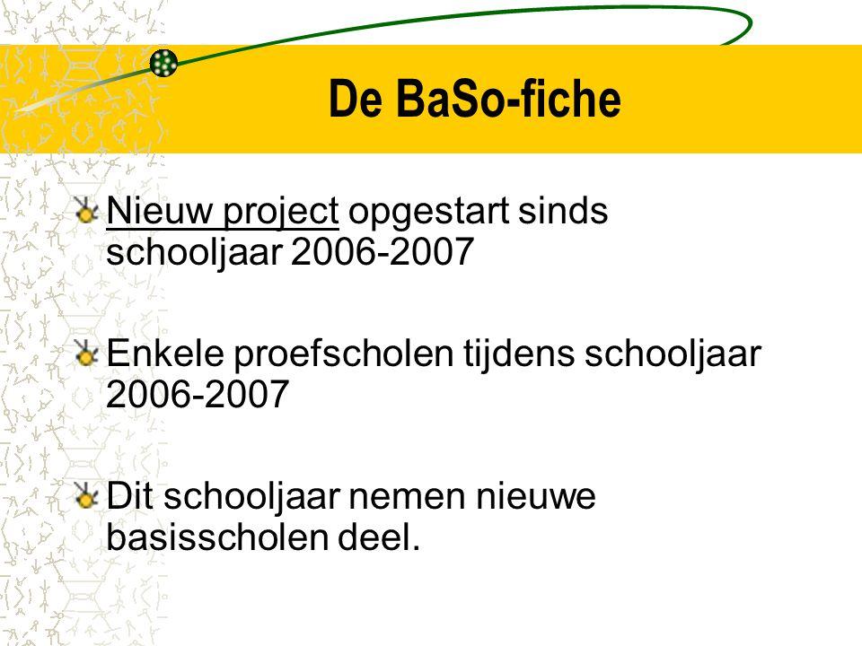 De BaSo-fiche Nieuw project opgestart sinds schooljaar 2006-2007