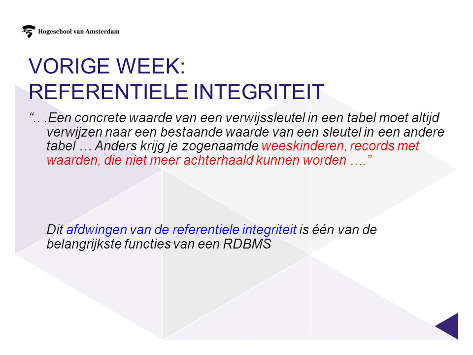 Vorige week: Referentiele integriteit