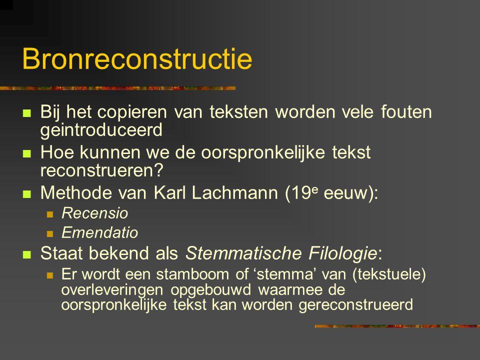 Bronreconstructie Bij het copieren van teksten worden vele fouten geintroduceerd. Hoe kunnen we de oorspronkelijke tekst reconstrueren