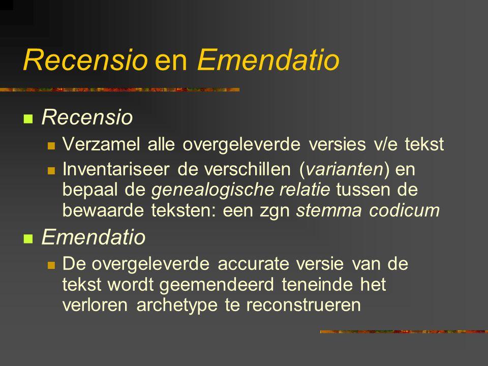 Recensio en Emendatio Recensio Emendatio
