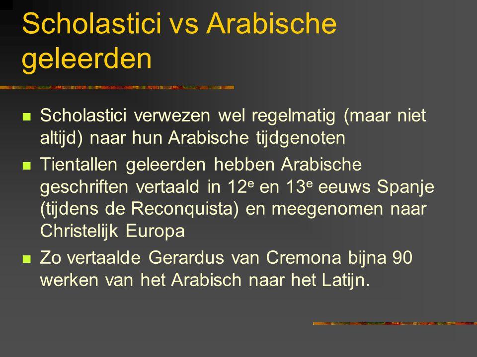 Scholastici vs Arabische geleerden