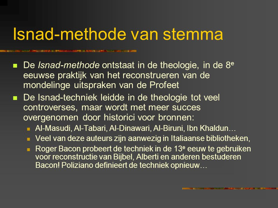 Isnad-methode van stemma